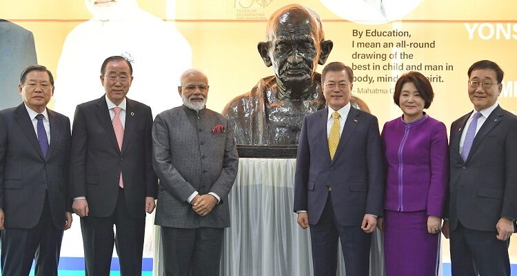 PM unveils bust of Mahatma Gandhi in Seoul