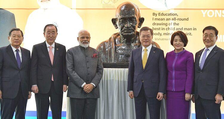 PM unveils bust of Mahatma Gandhi in Seoul