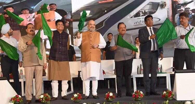 Home Minister Amit Shah flags off the New Delhi-Katra 'Vande Bharat' Express